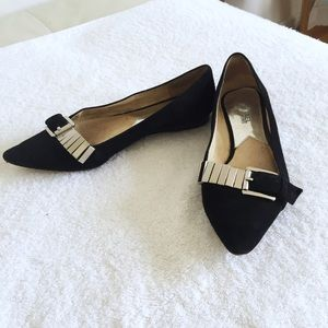 Michael Kors black suede pointed toe flats size 7
